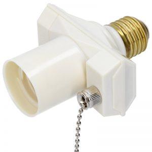 Фасунга с ключ и 1 гнездо за щепсел - бял цвят